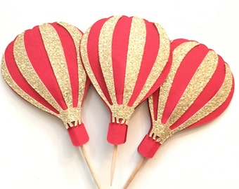 Hot Air Balloon Cupcake Toppers! Red and Gold Glitter Hot Air Balloons! Baby Shower, First Birthday, Birthday Party- Cupcake Toppers