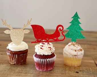 Christmas Cupcake Toppers- Holiday Party Cupcake Toppers- Glitter Cupcake Toppers