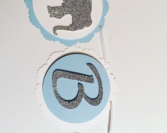 Elephant Happy Birthday Banner! Blue, Grey, White, and Silver Glitter