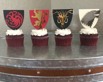 Game of Thrones Cupcake Toppers- House Stark, Targaryen, Lannister, Greyjoy- House sigil Cupcake Toppers- Game of Thrones Party