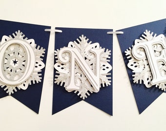 Snowflake First Birthday Highchair Banner! Onederland Party, Navy, Silver Glitter, and White- Frozen Winter Birthday