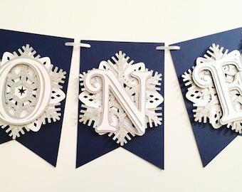 Snowflake First Birthday Highchair Banner! Onederland Party, Navy, Silver Glitter, and White- Frozen Winter Birthday