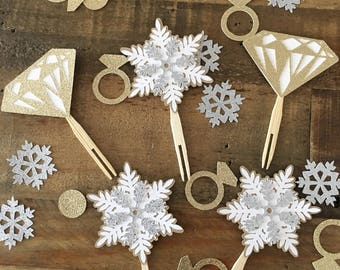 Winter Bridal Shower Cupcake Toppers! White and Gold Glitter! Ring and Snowflake Cupcake Toppers
