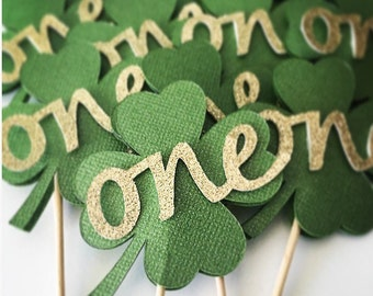 Set of 12 Four Leaf Clover Cupcake Toppers- St Patrick's Day Party, First Birthday Party- ONE Cupcake Toppers