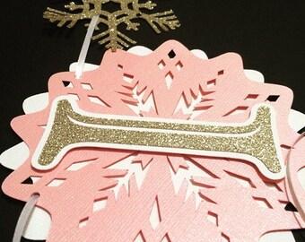 """Snowflake First Birthday Highchair Banner- Pink, Gold, & White, """"I am 1"""" Winter themede Birthday- Onderland"""