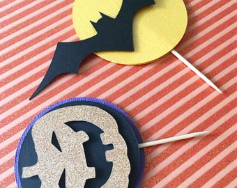 Halloween Cupcake Toppers! Glitter Jackolanterns- Moon and Bats Cupcame Toppers- Halloween Party Decor