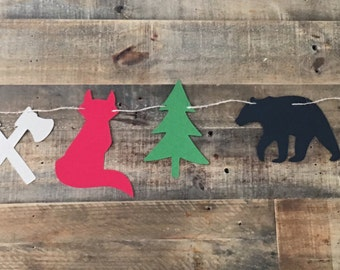 Woodland Lumberjack Garland- Lumberjack Party- Woodland Animal Theme! Bears, Fox, Axe, and Pine Trees