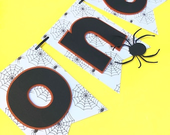 Halloween HighChair Banner- First Birthday High Chair Banner- Spider Web Halloween One Banner- ONE Banner