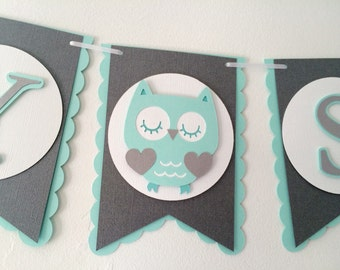 Owl Baby Shower Banner- Mint, Grey, & White- Gender Neutral Baby Shower Banner
