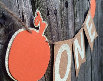 Pumpkin HighChair Banner- First Birthday High Chair Banner- Fall Pumpkin One Banner- Gold Glitter Pumpkin First Birthday