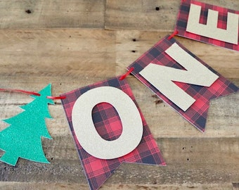 Winter ONE Banner! Lumberjack Themed Birthday Party, Winter Birthday Party- Buffalo Plaid Print