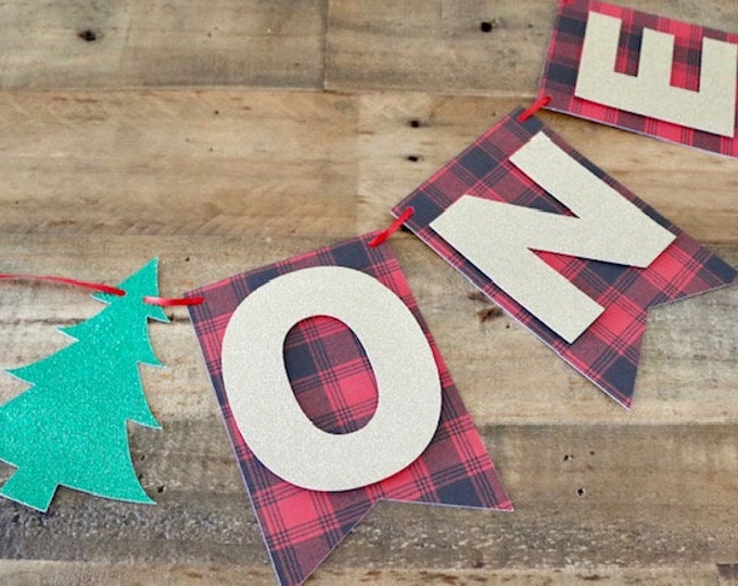 Featured listing image: Winter ONE Banner! Lumberjack Themed Birthday Party, Winter Birthday Party- Buffalo Plaid Print