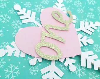 Smash Cake Topper! Snowflake and Heart Mini Cake Topper- First Birthday!