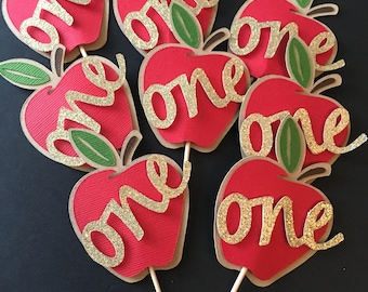"Apple Cupcake Toppers! Set of 10 Apple Cupcake Toppers with ""one"" Fall First Birthday Party- First Birthday"