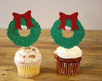 Christmas Wreath Cupcake Toppers- Holiday Party Cupcake Toppers