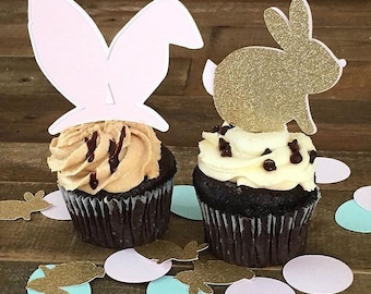 Bunny Cupcake Toppers- Easter Bunny- Spring Party Easter Decorations- Bunny Cupcakes