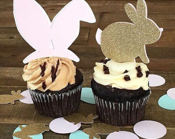 Featured listing image: Bunny Cupcake Toppers- Easter Bunny- Spring Party Easter Decorations- Bunny Cupcakes
