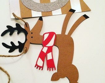 Winter/ Holiday First Birthday Highchair Banner! Reindeer One Banner- Winter Birthday Party