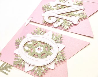 Snowflake First Birthday Highchair Banner! Onederland Party, Pink, Gold Glitter, and White- Frozen Winter Birthday