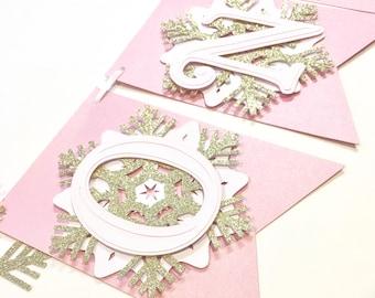 Snowflake First Birthday Highchair Banner! Onederland Party, Pink, Gold Glitter, and White- Frozen Winter Birthday