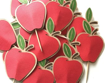 Apple Cupcake Toppers! Set of 10 Apple Cupcake Toppers- Fall Birthday Party- School Party Cupcake Toppers