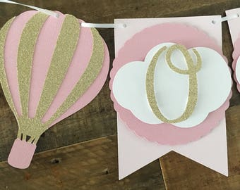 Hot Air Balloon First Birthday Highchair Banner- First Birthday Party, Gold Glitter Hot Air Balloons- ONE Highchair Banner!