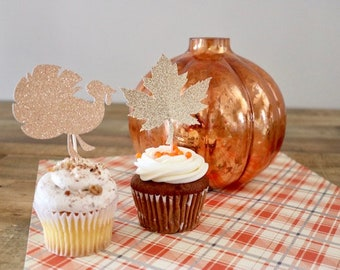 Thanksgiving Cupcake Toppers- Turkey and Leaf Cupcake Toppers