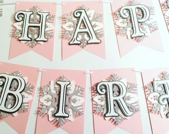 Snowflake Onederland Happy Birthday Banner! First Birthday Party- Silver Glitter Snowflakes- Blue or Pink