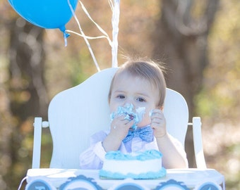 Elephant First Birthday High Chair Banner! Blue, Grey, White, and Silver Glitter