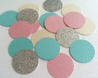 100 Piece Pastels and Silver Glitter Confetti!-Birthday Party Confetti