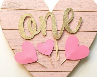 ONE Heart Cake Topper Set- First Birthday Party Cake Topper! Pink and Gold Glitter- Sweetheart Birthday Party