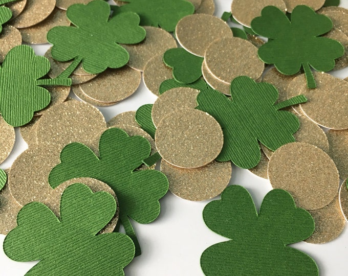 Featured listing image: 100 Piece Clover Confetti! Birthday Party, St Patrick's Day Confetti- Four Leaf Clover Confetti- Irish green and gold