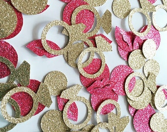 Bachelorette Confetti!! Lips and Ring Confetti- Gold and Pink Glitter- Bachelorette Party