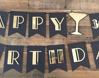 Gatsby 30th Birthday Banner! Roaring 30th Party- Gatsby Themed Birthday- Happy 30th Birthday Banner