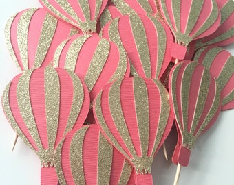 Hot Air Balloon Cupcake Toppers! Pink and Gold Glitter Hot Air Balloons! Baby Shower, First Birthday, Birthday Party- Cupcake Toppers