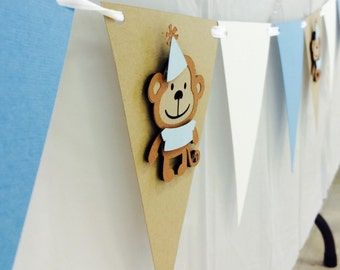 Monkey Birthday Bunting Banner! Blue, Tab, and White- Monkey Birthday Party, First Birthday