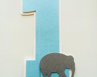 Elephant First Birthday Cake Topper! Elephant First Birthday Party- Silver Glitter Elephants- Blue, Grey, & White
