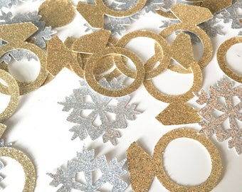 Winter Bridal Shower Confetti- Engagement Party Confetti- Gold Glitter Confetti Rings- Wedding Confetti- Snowflake Confetti- Winter Wedding
