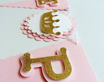 Welcome Princess Baby Shower Banner! Pink and Gold Glitter Princess Banner!