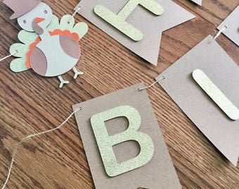 Turkey Happy Birthday Banner- Fall Birthday, Gold Glitter- Thanksgiving Birthday