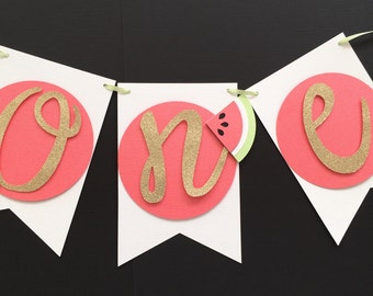 Watermelon First Birthday Banner! Summer Birthday Party! Gold Glitter with Coral Watermelons- ONE Banner