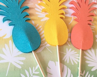 Pineapple Cupcake Toppers For Luau- Luau Party- Set of 15- Pineapple Party