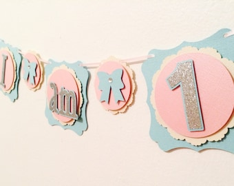 I AM One First Birthday Banner- Silver Glitter And Bows- Girls Birthday Decorations