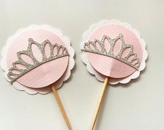 Princess Tiara Cupcake Toppers! Set of 10 Silver Glitter Tiara Toppers- Princess Birthday Party or Princess Baby Shower
