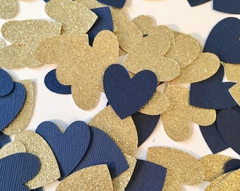 100 Piece Heart Confetti! Birthday Party, Bridal Shower, Engagment, Anniversay Party- Navy and Gold Glitter Heart Confetti
