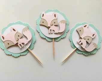 Set of 10 Baby Pink Fox Cupcake Toppers! Fox Baby Shower, Fox First Birthday- Baby Pink, Tan, White, and Mint