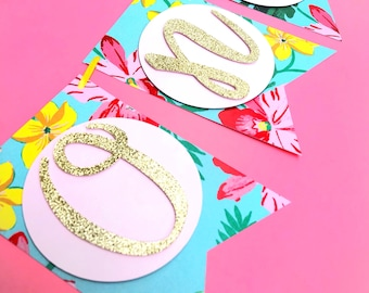 Pineapple First Birthday Highchair Banner- Luau First Birthday Party, Gold Glitter Pineapples- one Highchair Banner! - ONLY A FEW AVAILABLE!