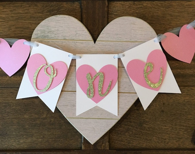 Featured listing image: Heart First Birthday Highchair Banner!Valentine's Party, Pink & Gold Glitter- Sweetheart Birthday Party