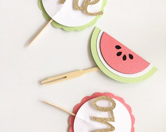 Watermelon First Birthday Cupcake Toppers! Watermelon Party- Cupcake Toopers- Set of 10