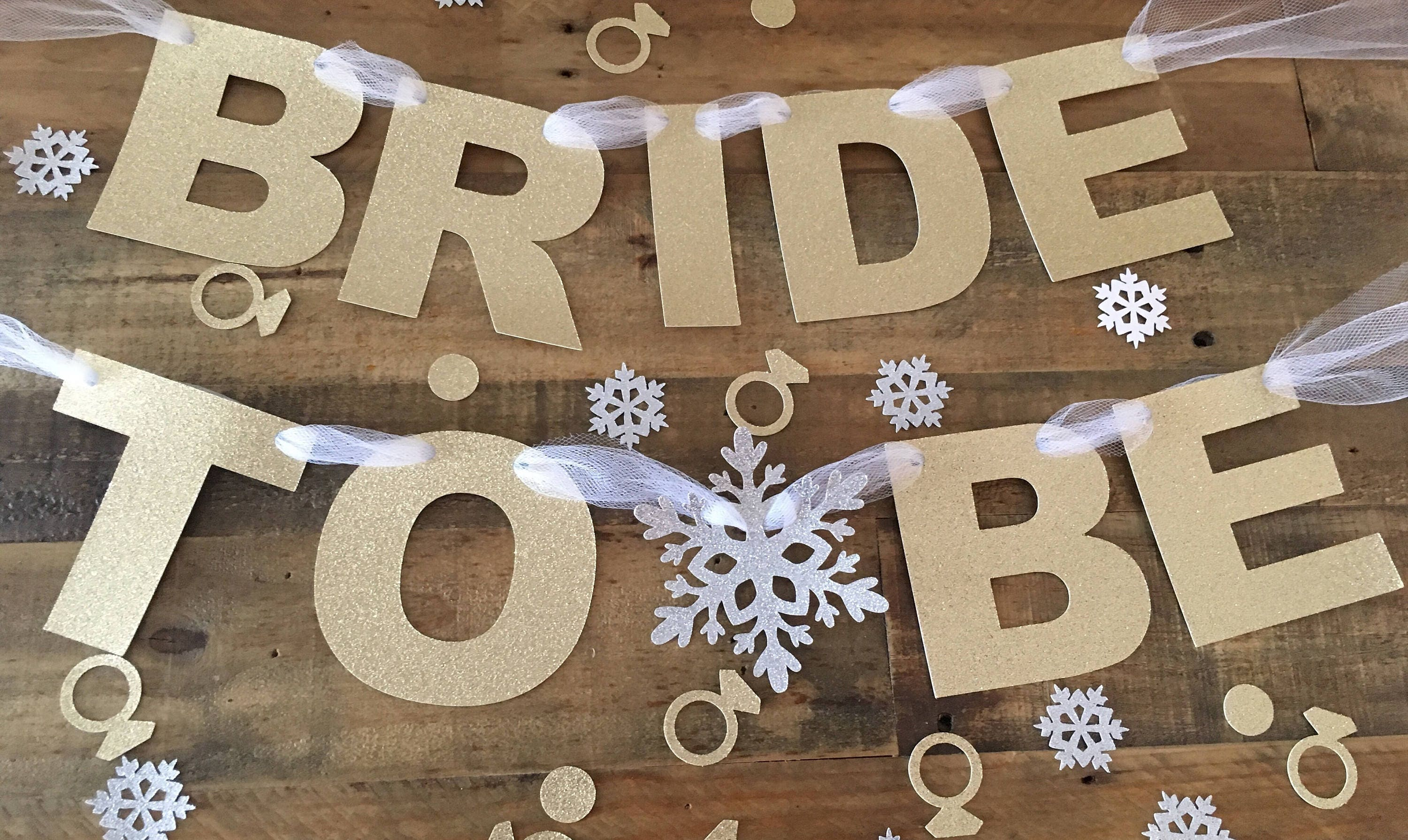 winter bridal shower banner silver glitter and gold glitter bridal shower bride to be banner bride chair banner winter bridal shower